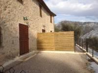 Vue de la terrasse avec la pose des claustras bois