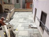 Derniers travaux sur la terrasse de la Porterie